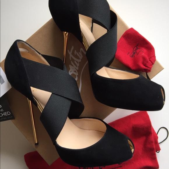 brand new 505e2 70f22 Louboutin Big Dorcet Black Suede Royal 120 shoes